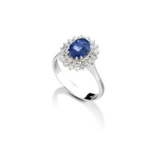 anello diamanti e zaffiro in oro bianco