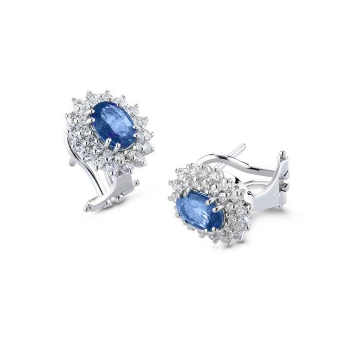 orecchini zaffiro e diamanti