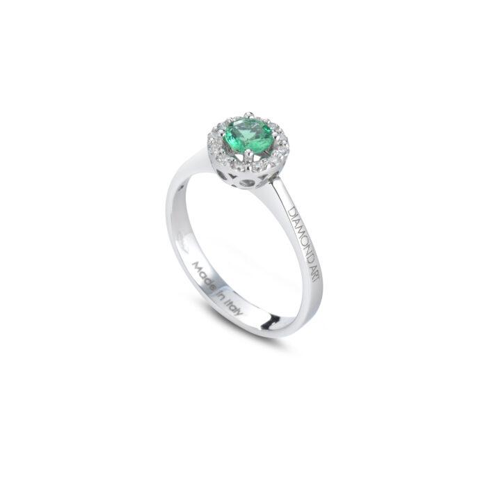 anello Beryl con smeraldo e brillanti in oro bianco