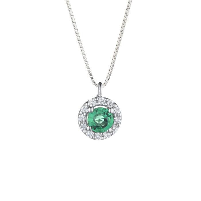 ciondolo con smeraldo e diamanti in oro bianco
