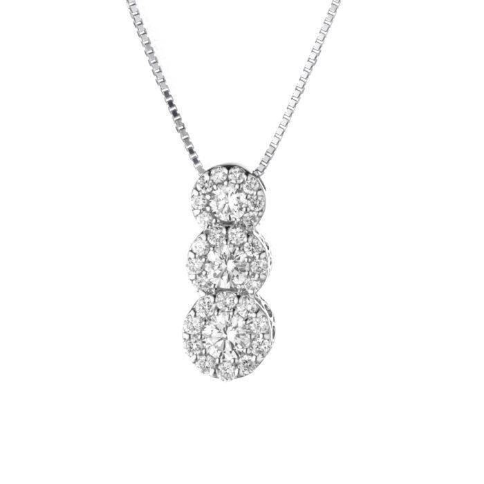 ciondolo con diamanti taglio brillante, in oro bianco