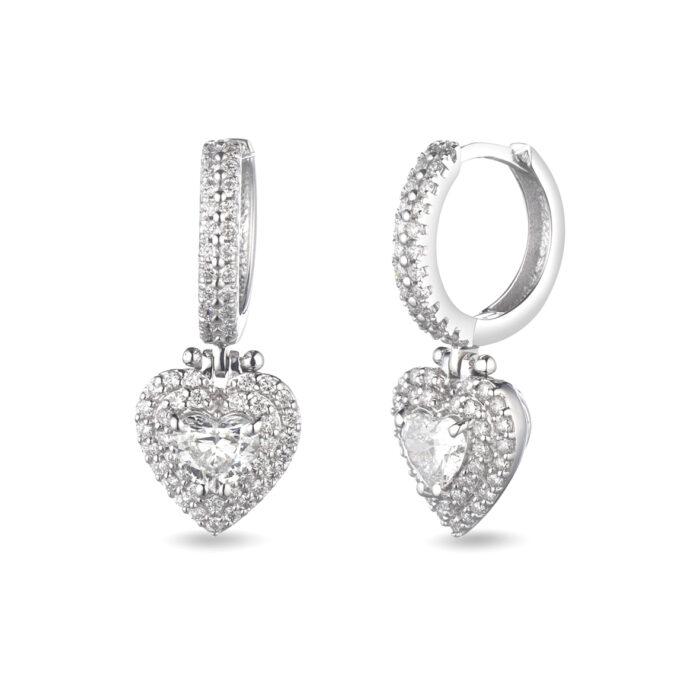 orecchini con diamante taglio cuore, in oro bianco